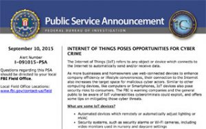 IoT FBI Announcement